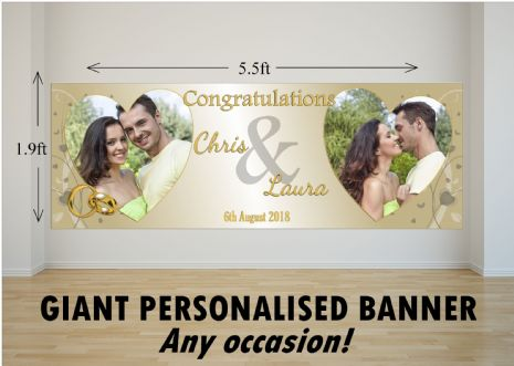 Personalised GIANT Large Congratulations Wedding Engagement Anniversary PHOTO Poster Banner N75